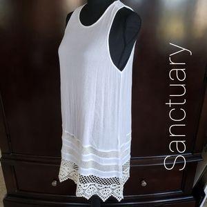 Sanctuary Tunic Top Crochet Lace Trim White XL